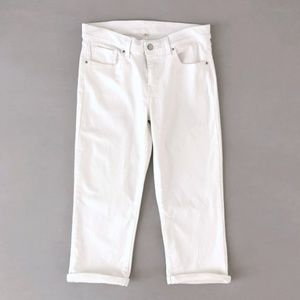 Levi's Women's White Ankle Cropped Cuffed Jeans 28